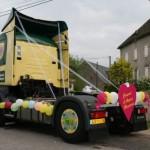 camion, mariés, décoration, mariage, amour