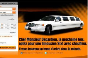 Sixt, Gerard Depardieu, limousine, avion, incident