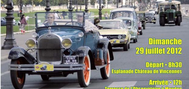 Paris estivale, vieiiles voitures, vincennes en ancienne, traversée, meudon