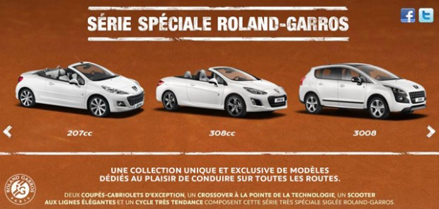 roland garros 2013 peugeot propose ses nouvelles ditions sp ciales. Black Bedroom Furniture Sets. Home Design Ideas