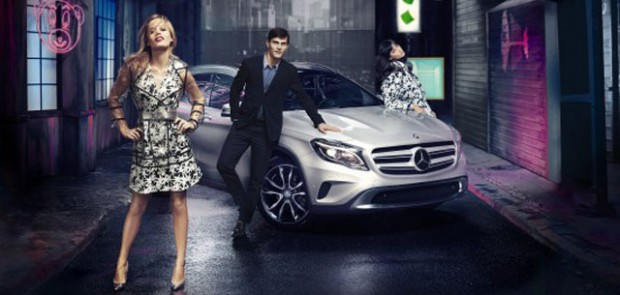 Georgia May Jagger, Mercedes, GLA, pub, fashion week, SUV, crossover mannequin