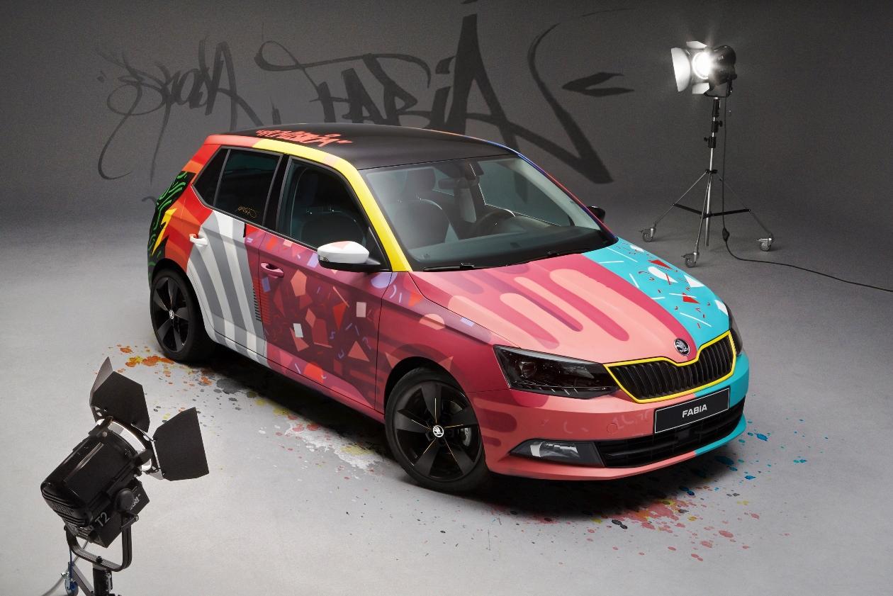 skoda fabia street art, skoda fabia, skoda, fabia, street art, Armando Gomes, graffeur