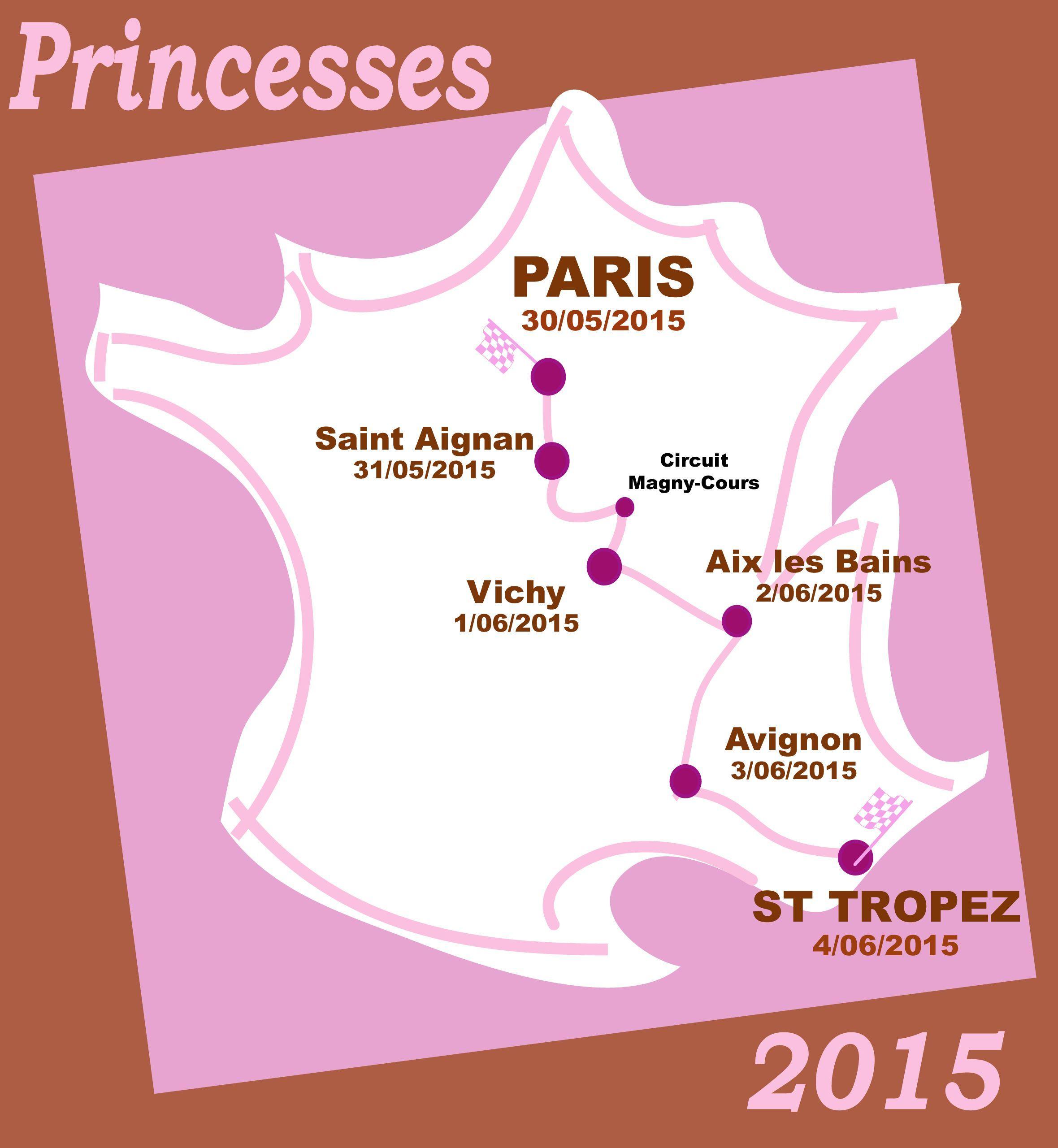 Rallye des princesses, rallye des princesses 2015, parcours, programme, paris, saint tropez, rallye régularite