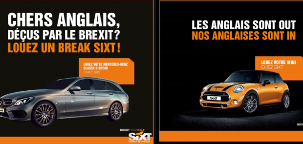 le brexit inspire la nouvelle campagne du loueur de voiture sixt. Black Bedroom Furniture Sets. Home Design Ideas