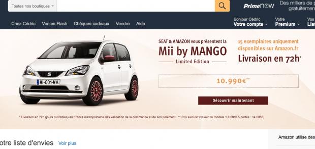 vente voiture internet, amazon, seat, mii, seat mii, vente en ligne, achat voiture, bon plan voiture