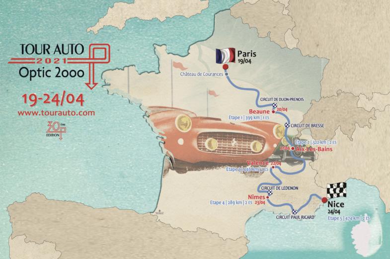tour auto, tour auto 2021, 30eme tour auto, anniversaire, parcours, itineraire tour auto, paris, nice, sport auto, rallye auto, rallye historic