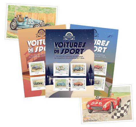 timbres, voiture et cinema, la poste, voiture ancienne, voiture et vacances, kit collector